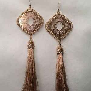 Jewelry - Rose Gold Color Tassel Earrings